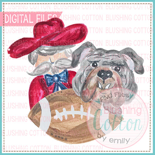 House Divided Southern Gent and Gray Bulldog Design Watercolor PNG BC
