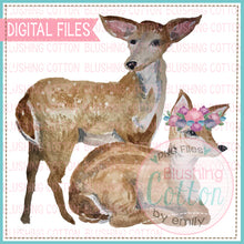 Load image into Gallery viewer, 2 BABY DEER 2 WATERCOLOR ART