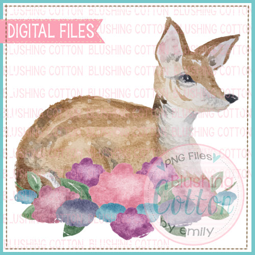 BABY DEER LYING DOWN IN FLOWERS WATERCOLOR ART