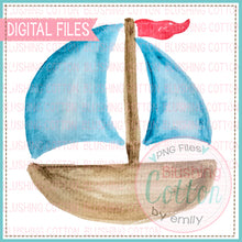 Load image into Gallery viewer, BLUE SAILBOAT WATERCOLOR ART
