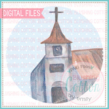 Load image into Gallery viewer, OLD CHURCH IN BLUE DOT CIRCLE WATERCOLOR ART