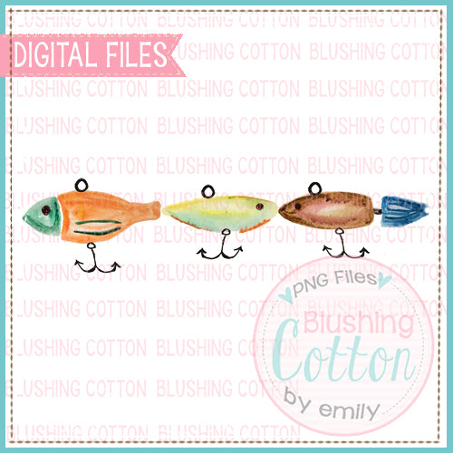 3 FISHING LURES HORIZONTAL WATERCOLOR ART