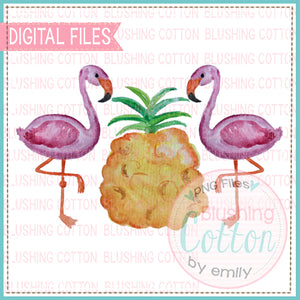FLAMINGO PINEAPPLE TRIO WATERCOLOR ART