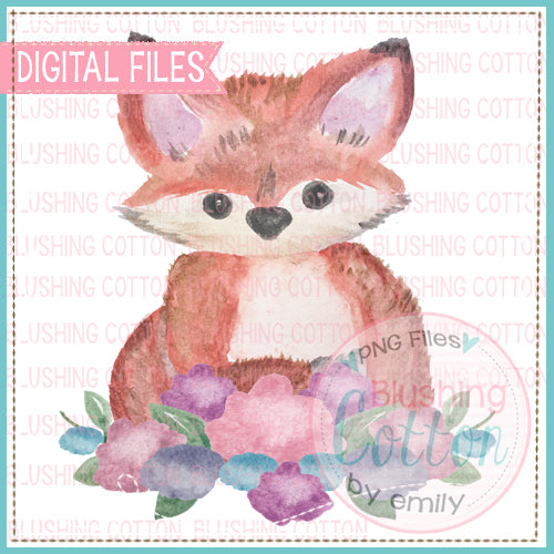 FOX WITH FLOWERS WATERCOLOR ART
