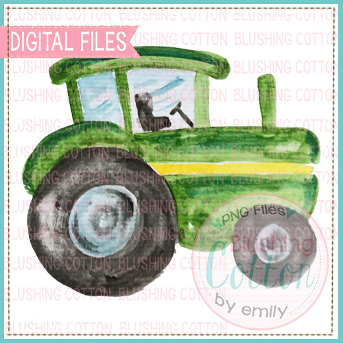 GREEN TRACTOR WATERCOLOR ART