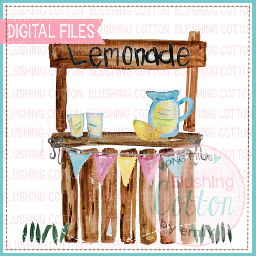 LEMONADE STAND WITH BANNER WATERCOLOR