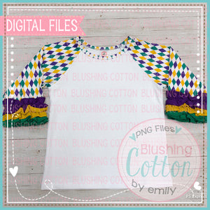 MARDI GRAS RAGLAN SHIRT WITH RUFFLE SLEEVES LAYOUT MOCK UP FROM ALL STITCHED UP BY ANGELA
