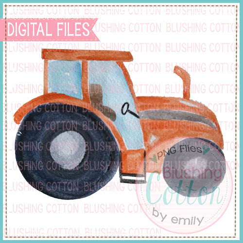 ORANGE TRACTOR WATERCOLOR ART