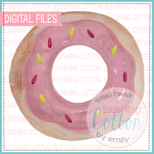 PINK DONUT WITH SPRINKLES WATERCOLOR ART