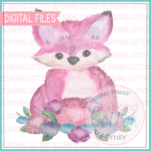 PINK FOX WITH FLOWERS WATERCOLOR ART