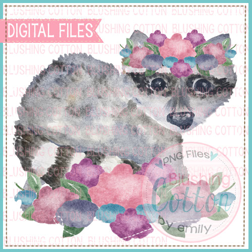 RACCOON WITH FLOWERS WATERCOLOR ART
