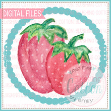 Load image into Gallery viewer, 2 STRAWBERRIES BEADED CIRCLE WATERCOLOR