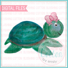Load image into Gallery viewer, SWIMMING SEA TURTLE WITH BOW WATERCOLOR ART