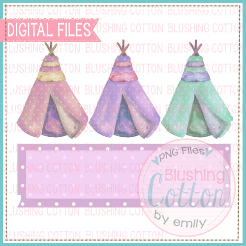 TEE PEE TRIO DOTS RECTANGLE WATERCOLOR ART