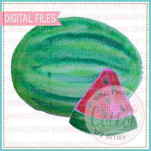 WATERMELON AND SLICE 1 WATERCOLOR ART