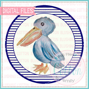 PELICAN WITH BLUE STRIPE BACKGROUND CIRCLE DESIGN WATERCOLOR PNG BC