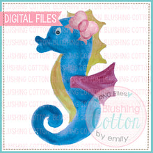 Load image into Gallery viewer, SEAHORSE WITH BOW WATERCOLOR ART