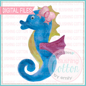 SEAHORSE WITH BOW WATERCOLOR ART