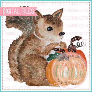 SQUIRREL WITH PUMPKINS DESIGN WATERCOLOR PNG BC