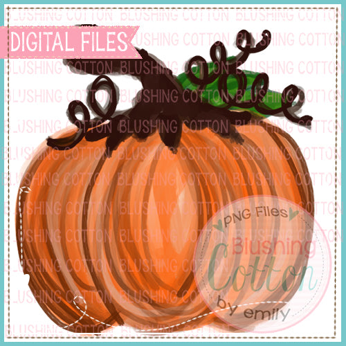 VINTAGE ORANGE PUMPKIN WATERCOLOR DESIGN PNG DIGITAL FILE FOR PRINTING AND OTHER CRAFTS BCEH