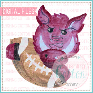 WILD PIG HOLDING FOOTBALL DESIGN PNG WATERCOLOR BC