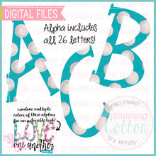 Load image into Gallery viewer, AQUA BLUE TURQUOISE POLKA DOT PARTY FONT BUNDLE     BCBC