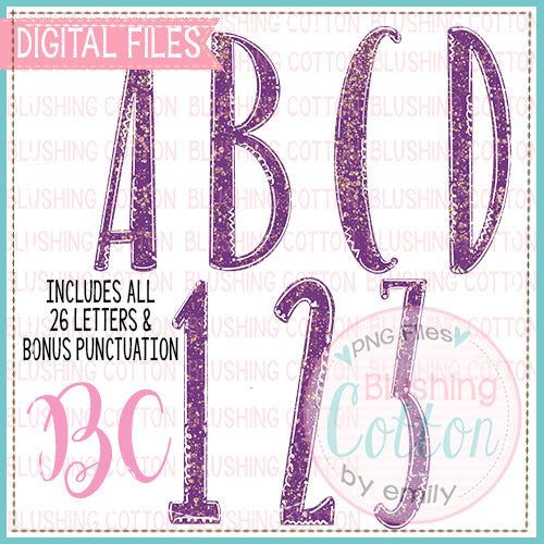 PURPLE AND GOLD GLITTER SPARKLE ALPHA NUMBER AND P UNCTUATION   BCBC