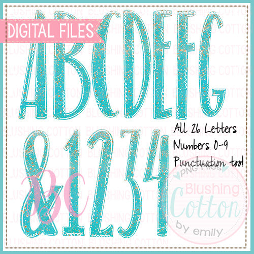 AQUA GLITTER SPARKLE ALPHA AND NUMBER BUNDLE  BCBC