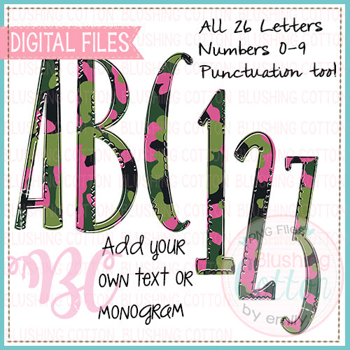 GREEN BLACK PINK CAMO ALPHA NUMBERS AND PUNCTUATION BUNDLE  BCBC