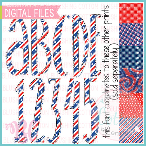 PATRIOTIC RED WHITE AND BLUE BUNTING ALPHA BUNDLE   BCBC