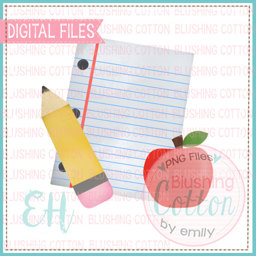BACK TO SCHOOL PENCIL AND PAPER WATERCOLOR DESIGN BCEH