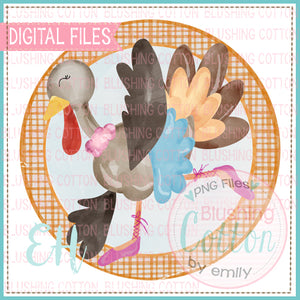 BALLERINA TURKEY IN FRAME WATERCOLOR DESIGN   BCEH