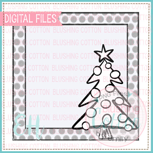 BLACK AND WHITE CHRISTMAS TREE TAG BCEH