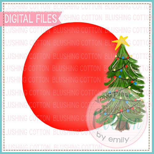 CHRISTMAS TREE CIRCLE WATERCOLOR DESIGN BCEH