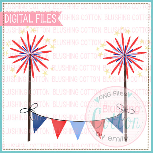 FIREWORKS BUNTING BANNER WATERCOLOR DESIGN  BCEH