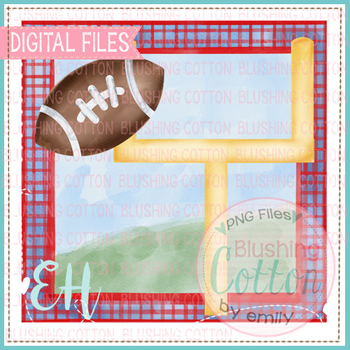 FOOTBALL GOAL IN RED AND BLUE GINGHAM FRAME BCEH