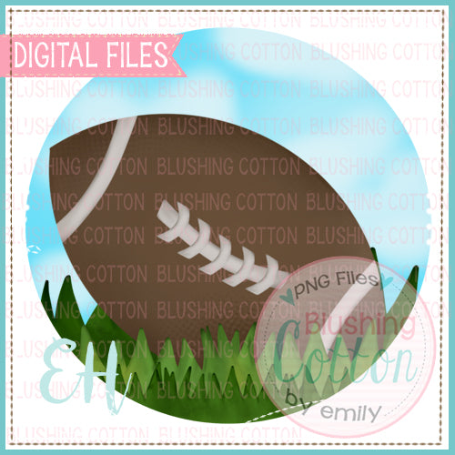 FOOTBALL IN THE GRASS CIRCLE WATERCOLOR DESIGN BCEH