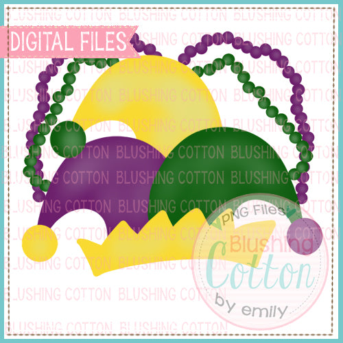 MARDI GRAS HAT AND BEADS WATERCOLOR DESIGN FOR PRINTING AND OTHER CRAFTS BCEH