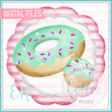 Load image into Gallery viewer, MINT DONUT IN STRIPED SCALLOP DESIGN    BCEH