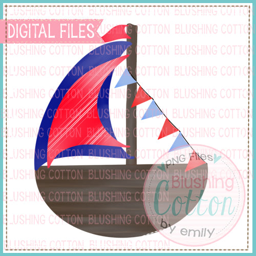 PATRIOTIC SAILBOAT WITH BANNER WATERCOLOR DESIGN  BCEH