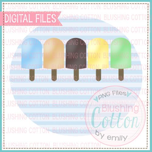 POPSICLE ROW FOR BOYS IN LIGHT BLUE CIRCLE WATERCOLOR DESIGN  BCEH