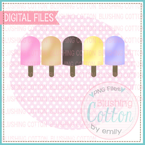 POPSICLE ROW FOR GIRLS IN PINK DOT CIRCLE WATERCOLOR DESIGN  BCEH