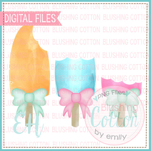 POPSICLE TRIO WITH BOWS BITTEN DESIGN   BCEH