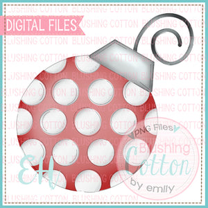 RED AND WHITE POLKA DOT ORNAMENT BCEH