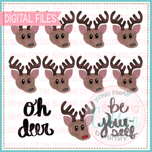 REINDEER GROUP WITH OH DEER BE YOURSELF WATERCOLOR DESIGN BCEH