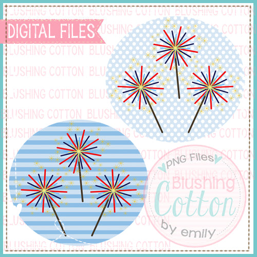 SPARKLERS IN CIRCLE SET WATERCOLOR DESIGN  BCEH