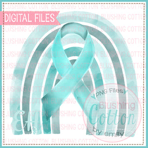 TEAL AWARENESS RIBBON RAINBOW BCEH