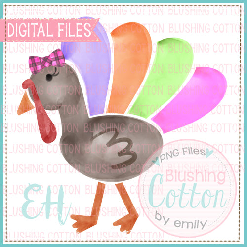 WATERCOLOR PIECED TURKEY GIRL WITH BOW - BCEH