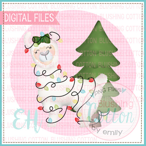 CHRISTMAS LLAMA GIRL IN PINK GINGHAM CIRCLE - BCEH