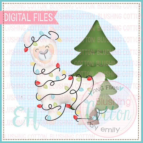 CHRISTMAS LLAMA IN BLUE GINGHAM CIRCLE - BECH